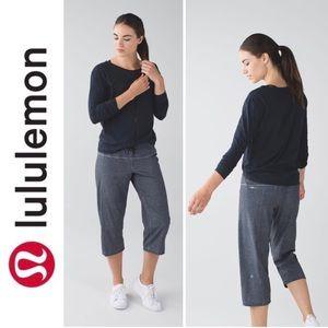 Lululemon Step Lively Crop Printed Grey Deep Coal